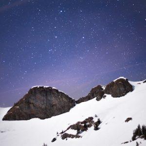 Star sky in snow