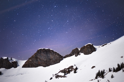 Star sky in snow landscape