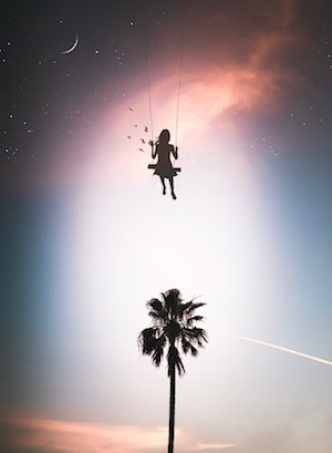 girl above palm tree