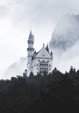 Castle Neuschwanstein in fog and forest