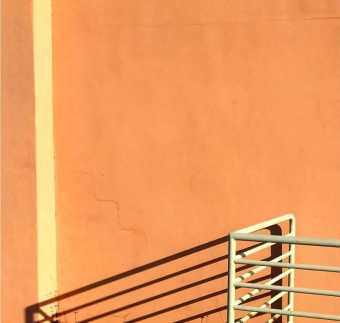 Orange wall with shadow in florida