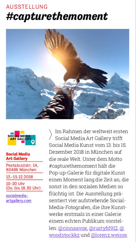 Anzeigentext für die Ausstellung in München der Social Media Art Gallery