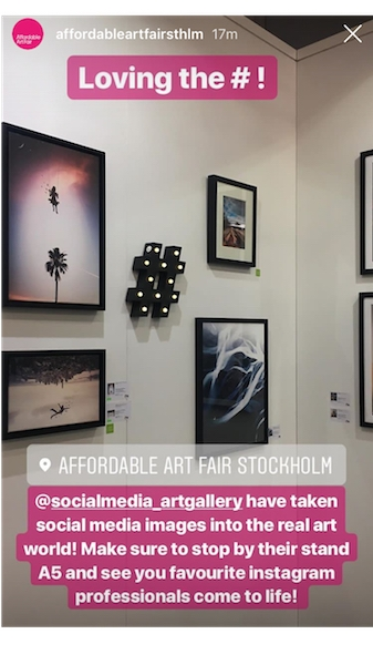 Story post on instagram about social media art gallery by the affordable art fair stockholm