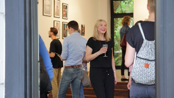 gallery owner anna stoffel at her opening of social media art gallery