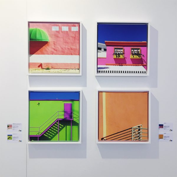 four framed canvas by Rusty Wiles in the Social Media Art Gallery