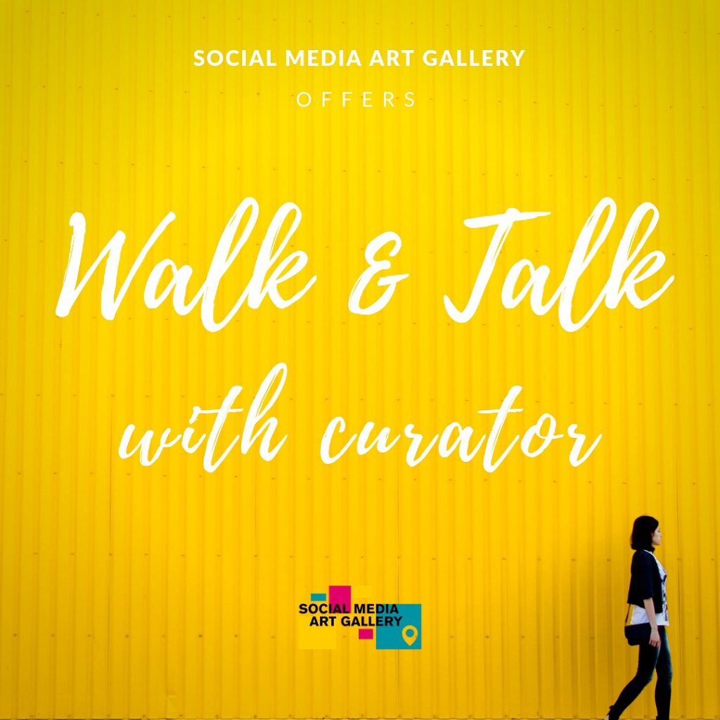 Walk and talk tour curator of social media art gallery