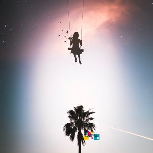 hollywood palm tree girl flying in the sky